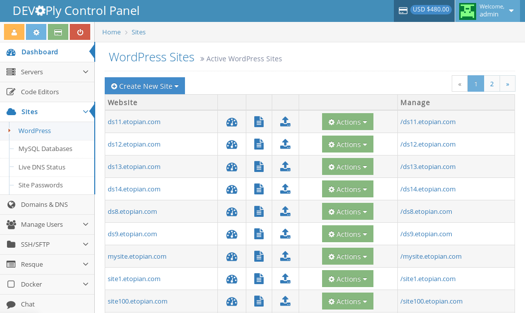 Docker Wordpress - Hosting Control Panel